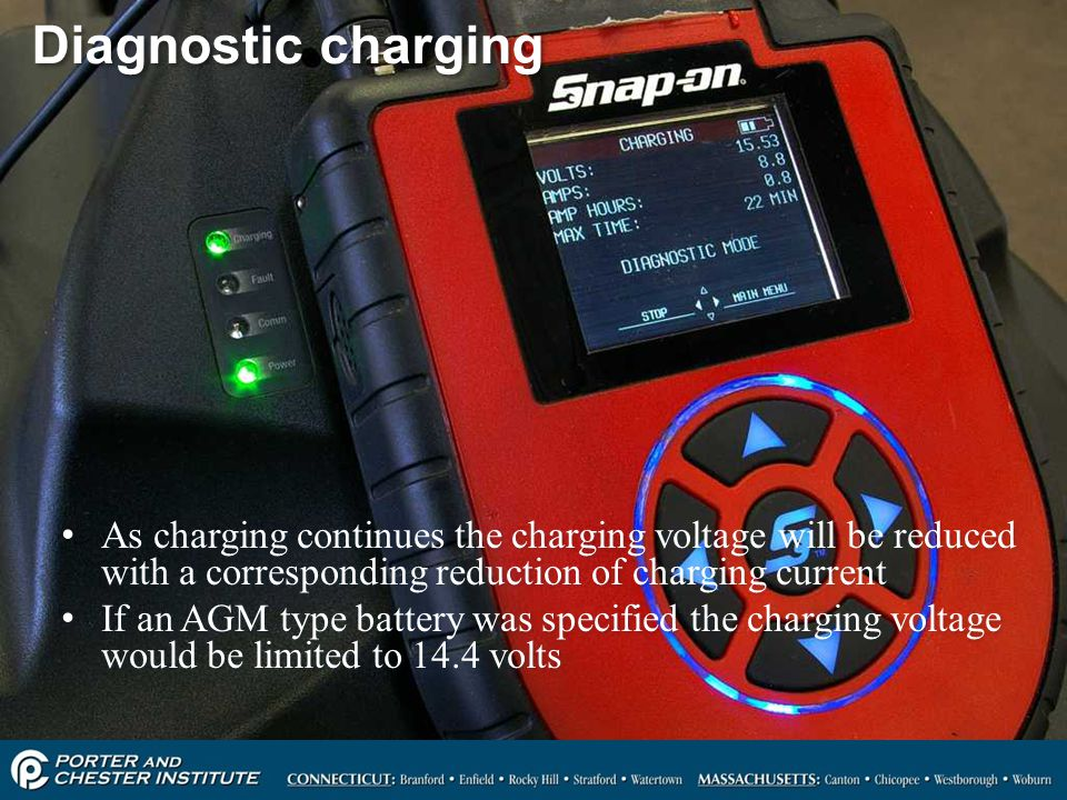 Diagnostic charging As charging continues the charging voltage will be reduced with a corresponding reduction of charging current.