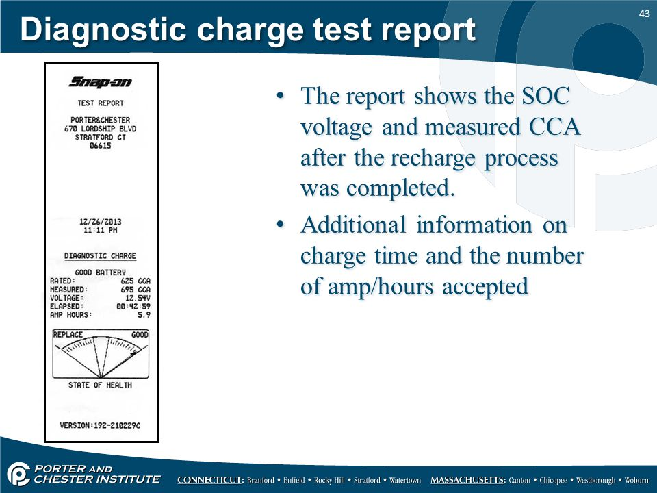 Diagnostic charge test report