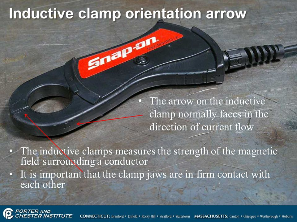 Inductive clamp orientation arrow