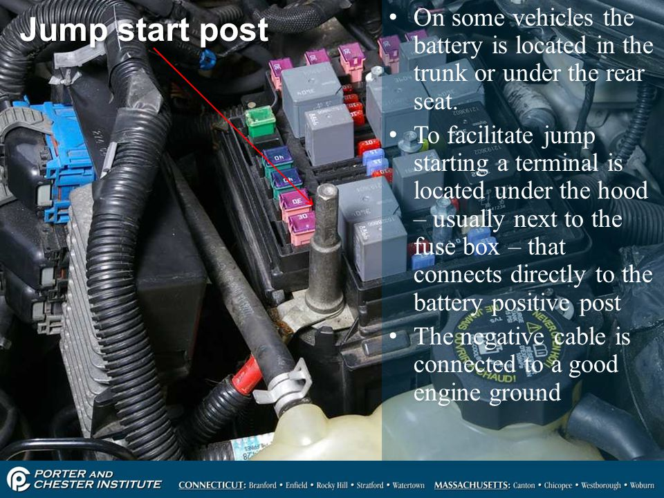 On some vehicles the battery is located in the trunk or under the rear seat.