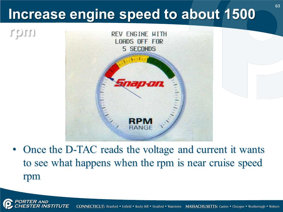 Increase engine speed to about 1500 rpm