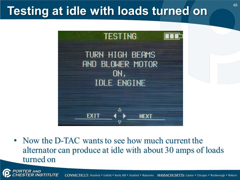Testing at idle with loads turned on