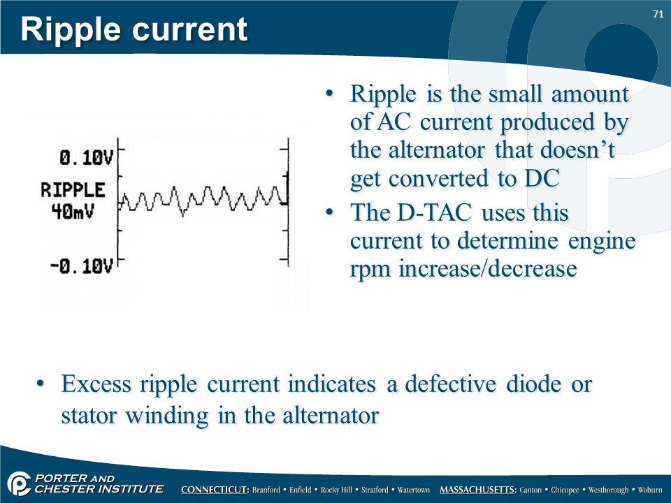 Ripple current Ripple is the small amount of AC current produced by the alternator that doesn't get converted to DC.