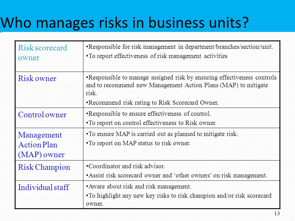 Who manages risks in business units