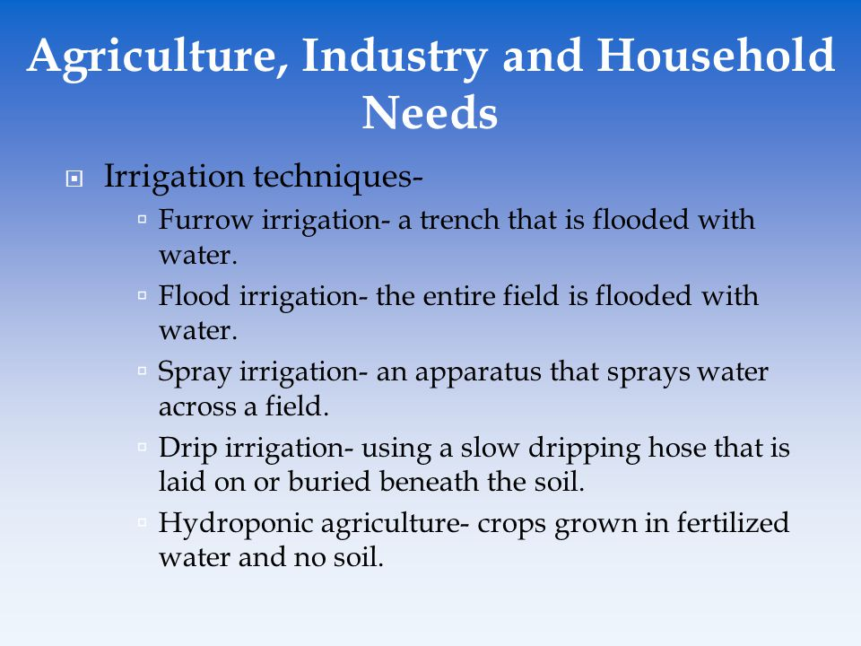 Agriculture, Industry and Household Needs