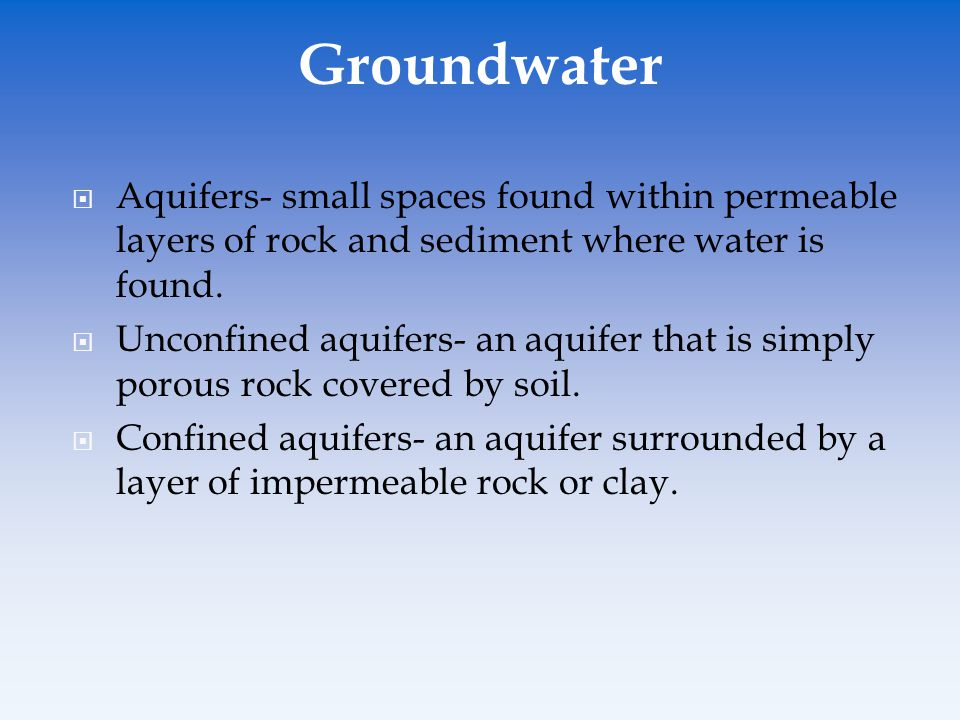 Groundwater Aquifers- small spaces found within permeable layers of rock and sediment where water is found.