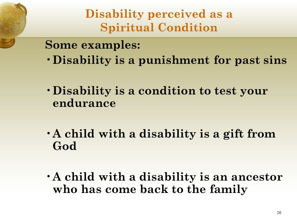 Disability perceived as a Spiritual Condition