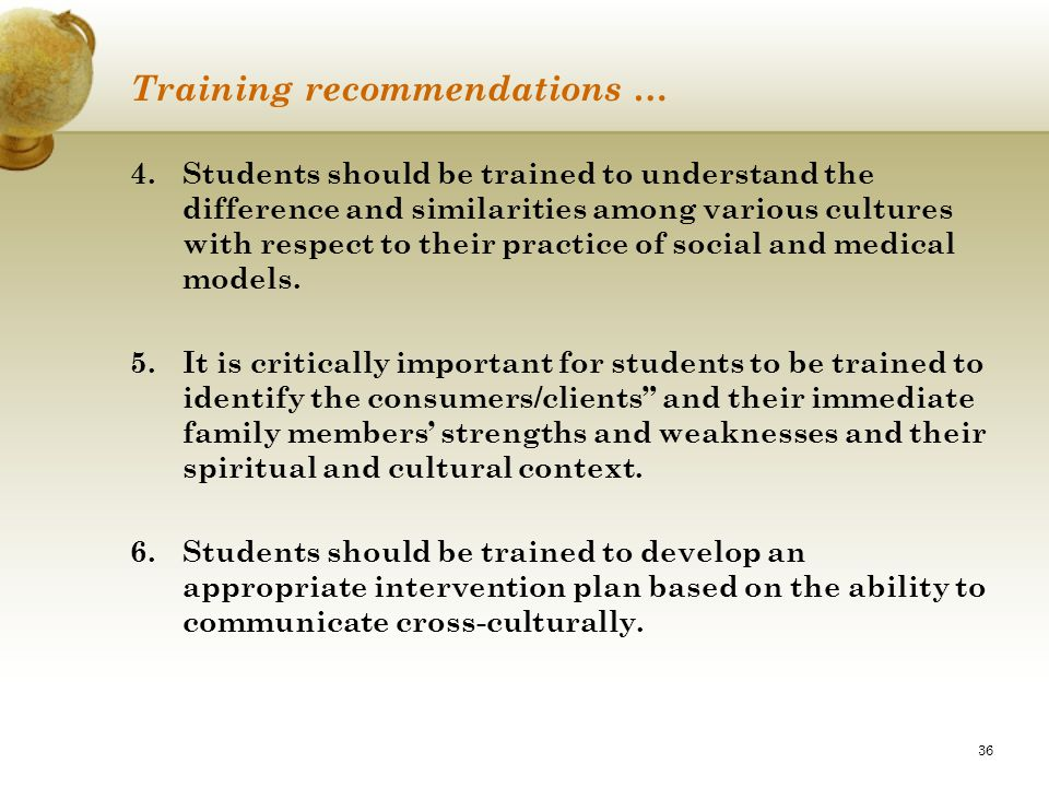 Training recommendations …
