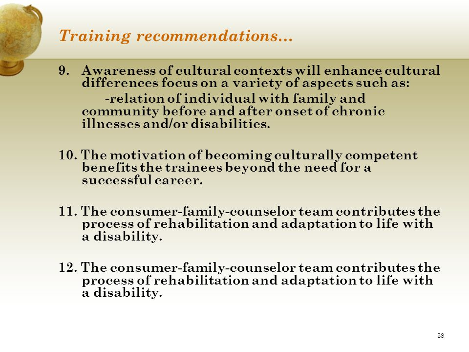 Training recommendations…