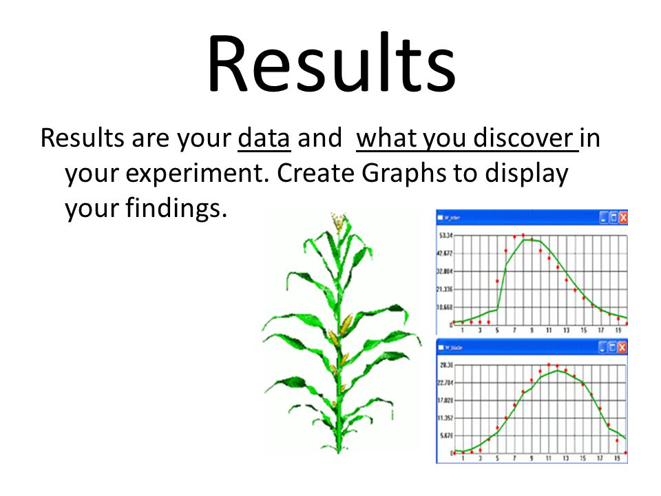 Results Results are your data and what you discover in your experiment.