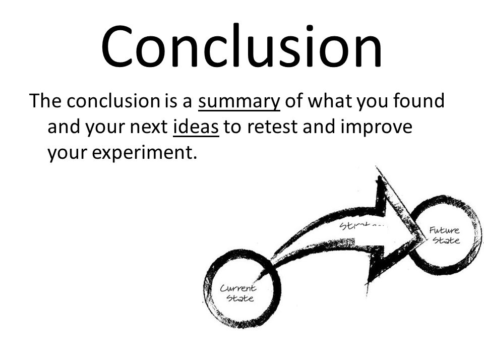 Conclusion The conclusion is a summary of what you found and your next ideas to retest and improve your experiment.