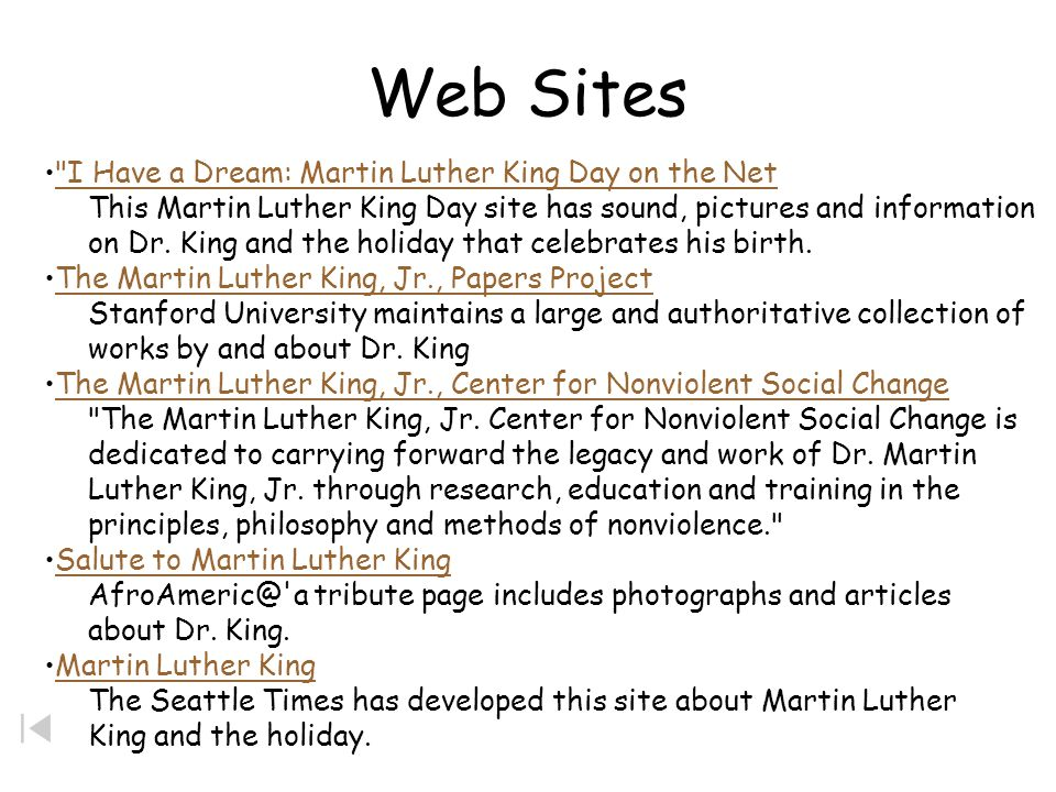 Web Sites I Have a Dream: Martin Luther King Day on the Net