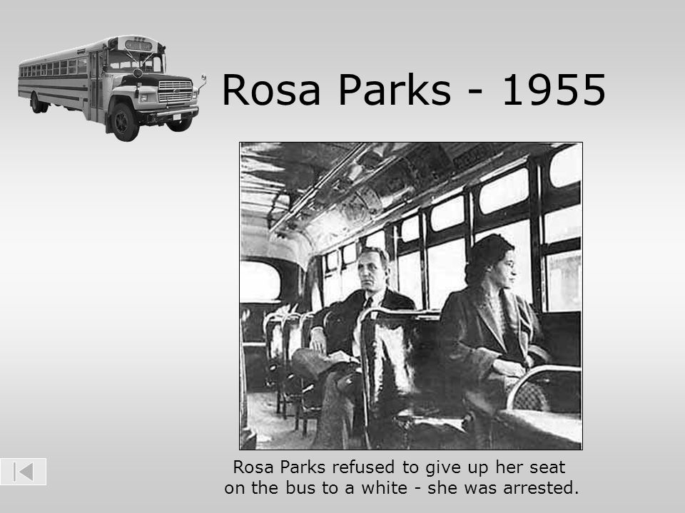Rosa Parks - 1955 Rosa Parks refused to give up her seat