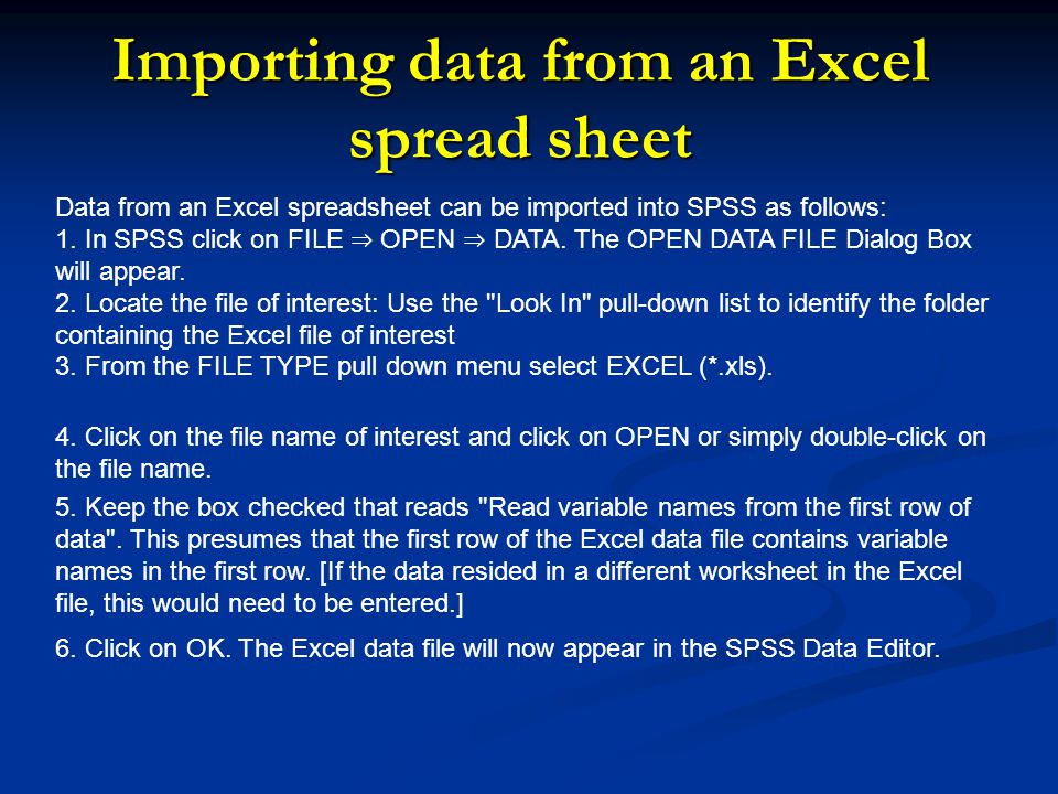 Importing data from an Excel spread sheet