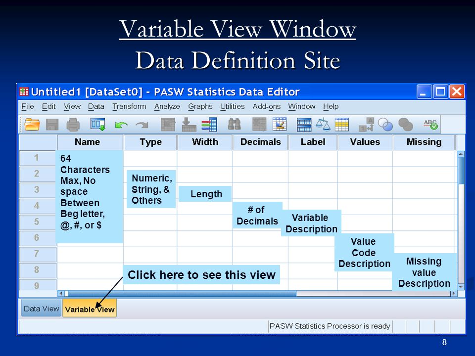 Variable View Window Data Definition Site