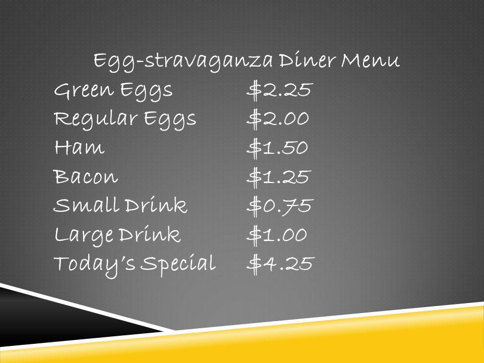 Egg-stravaganza Diner Menu
