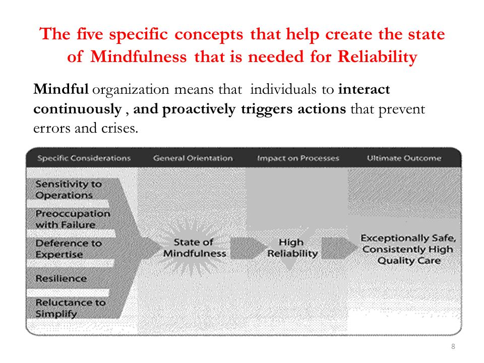 The five specific concepts that help create the state of Mindfulness that is needed for Reliability