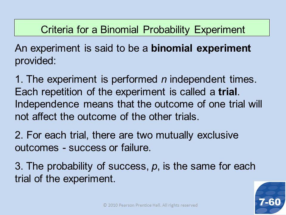 Criteria for a Binomial Probability Experiment