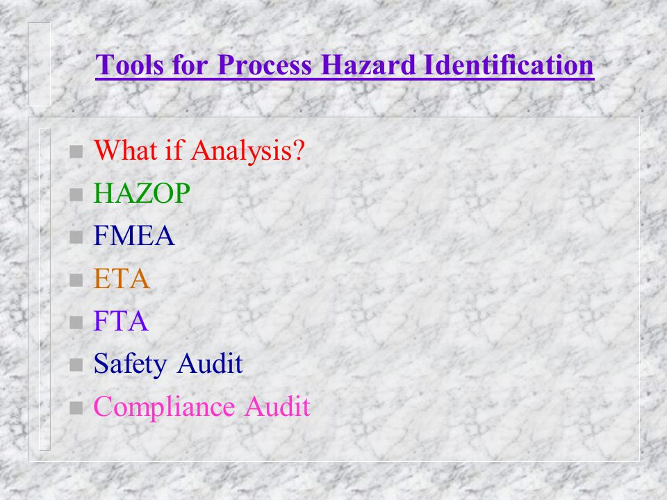 Tools for Process Hazard Identification