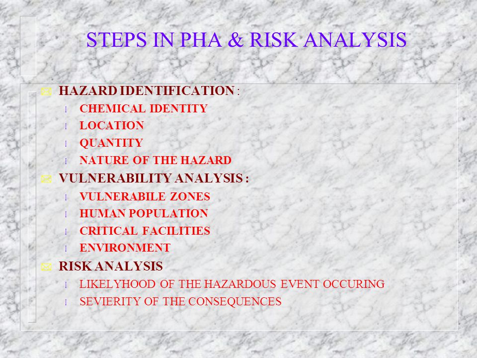 STEPS IN PHA & RISK ANALYSIS