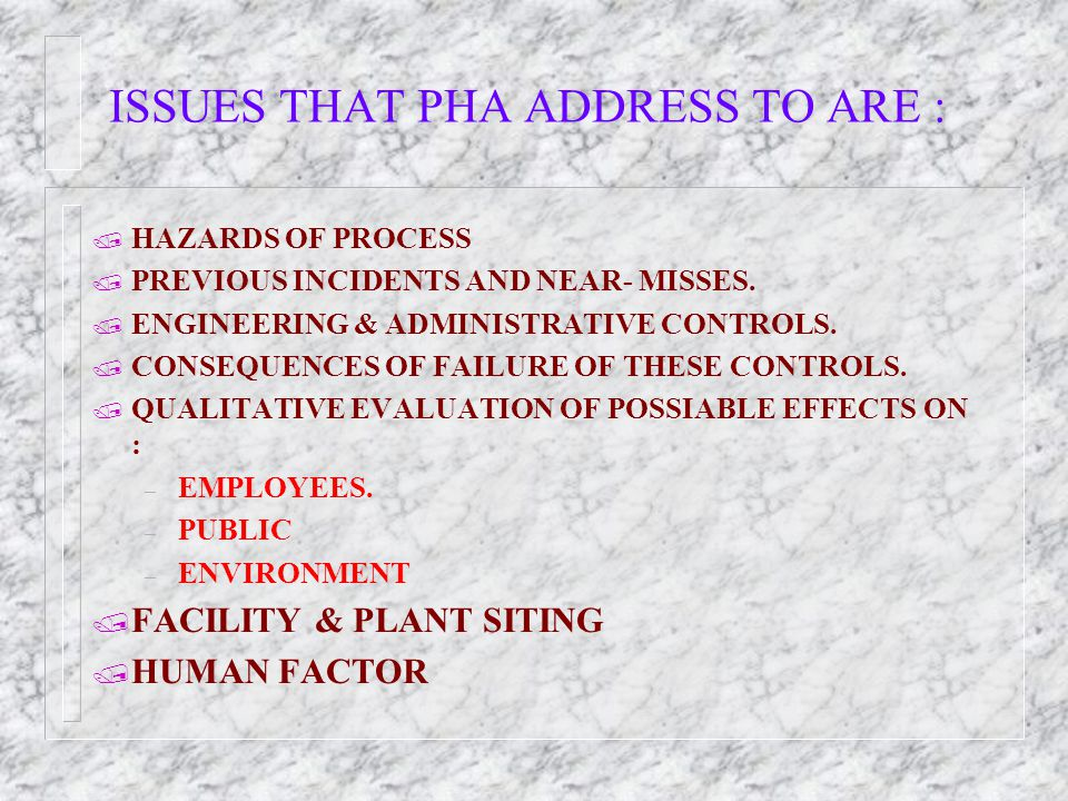 ISSUES THAT PHA ADDRESS TO ARE :
