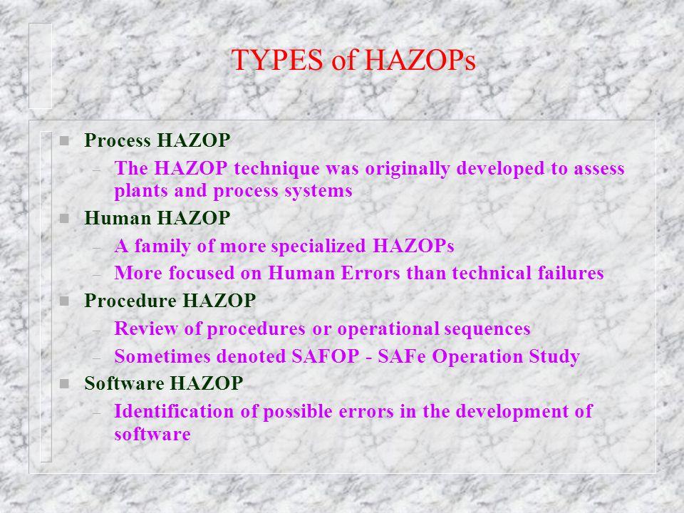TYPES of HAZOPs Process HAZOP