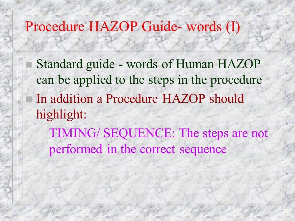 Procedure HAZOP Guide- words (I)