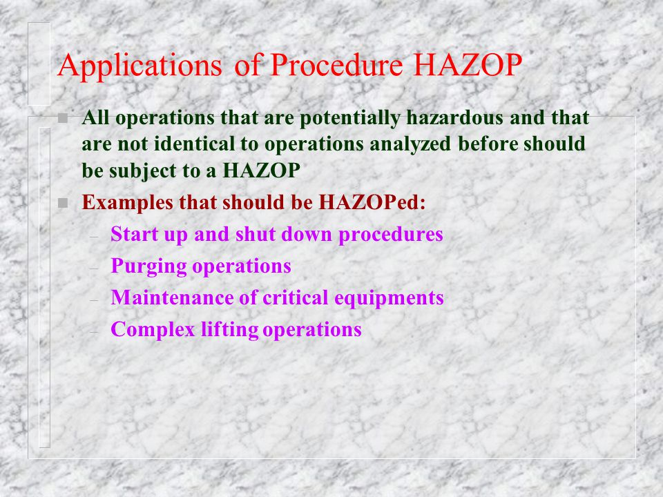 Applications of Procedure HAZOP