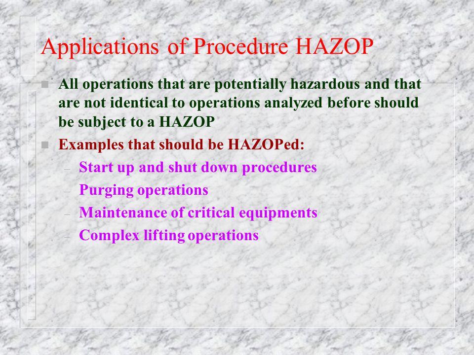 Applications of Procedure HAZOP