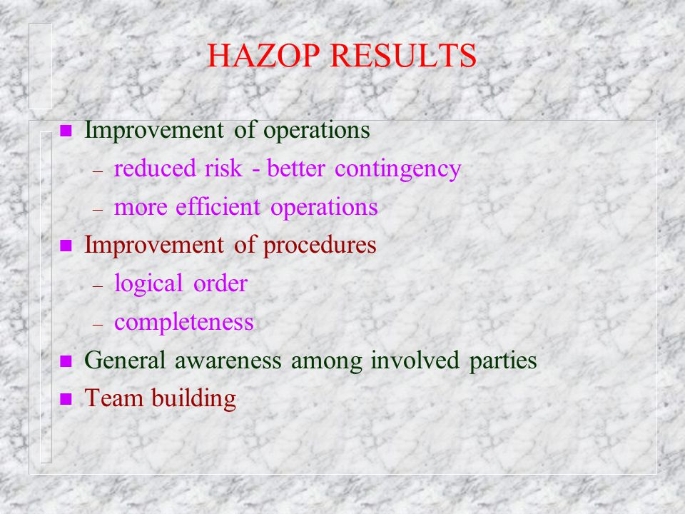 HAZOP RESULTS Improvement of operations