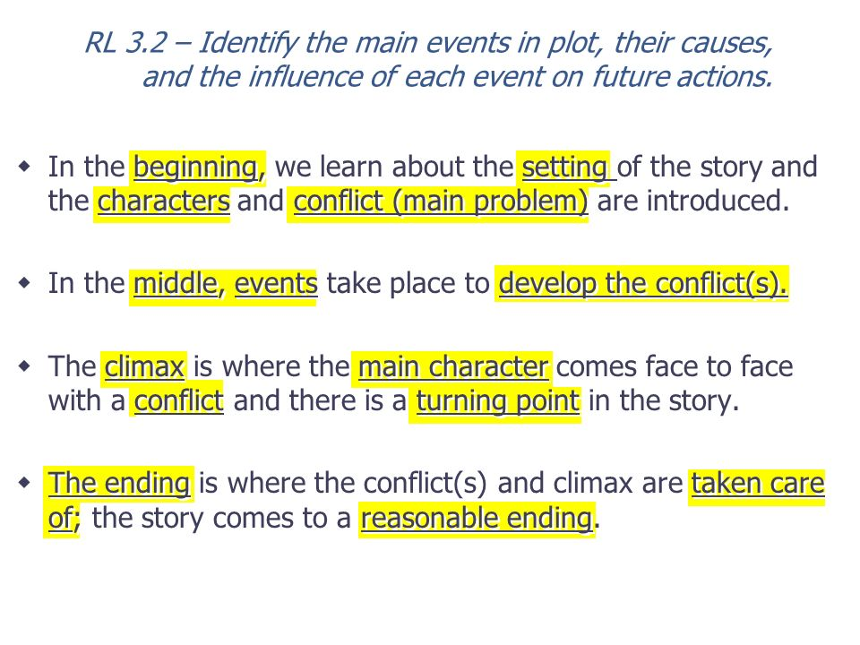 RL 3.2 – Identify the main events in plot, their causes, and the influence of each event on future actions.