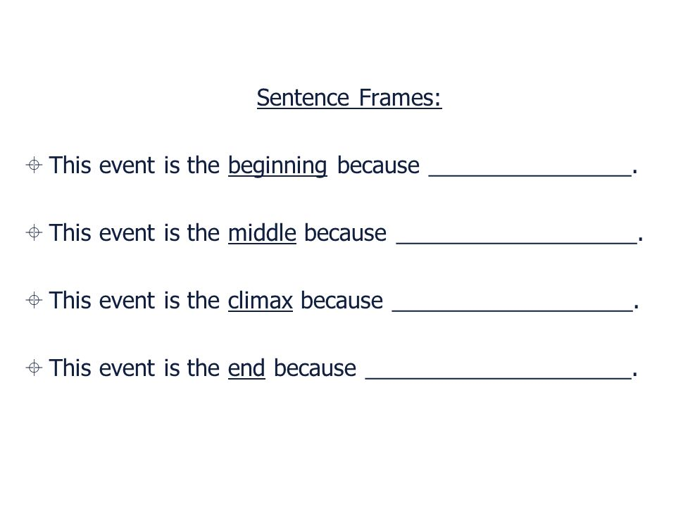Sentence Frames: This event is the beginning because ________________. This event is the middle because ___________________.