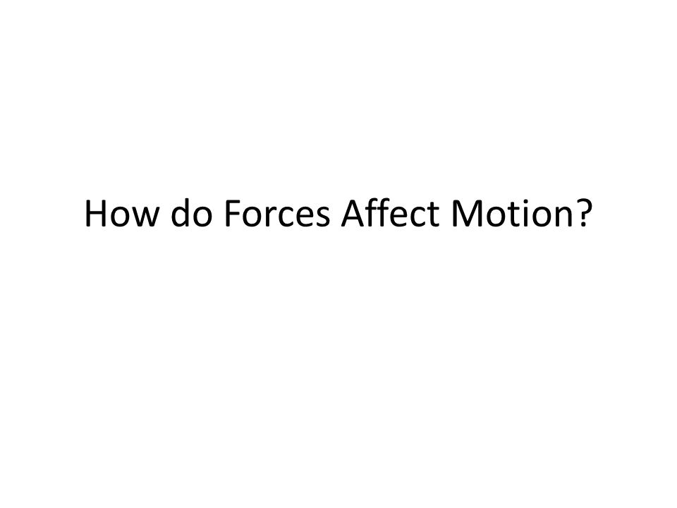 How do Forces Affect Motion
