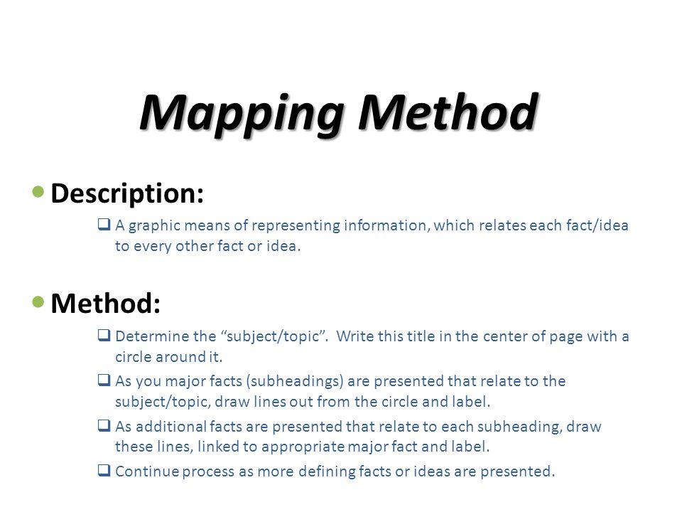 Mapping Method Description: Method:
