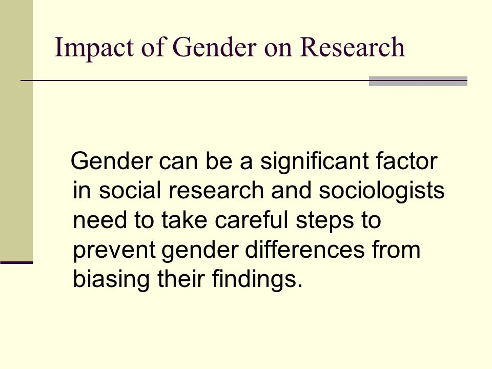 Impact of Gender on Research