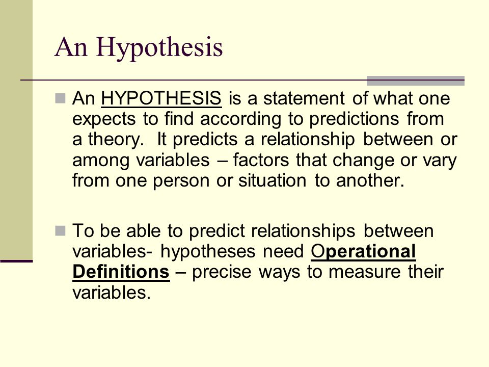 An Hypothesis