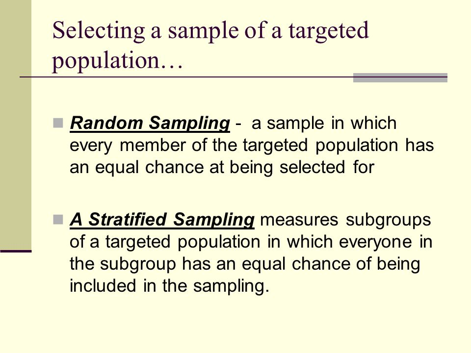 Selecting a sample of a targeted population…