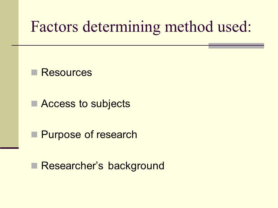 Factors determining method used:
