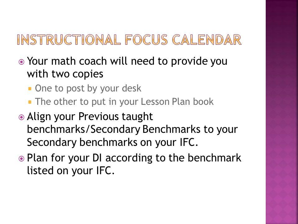 Instructional Focus calendar