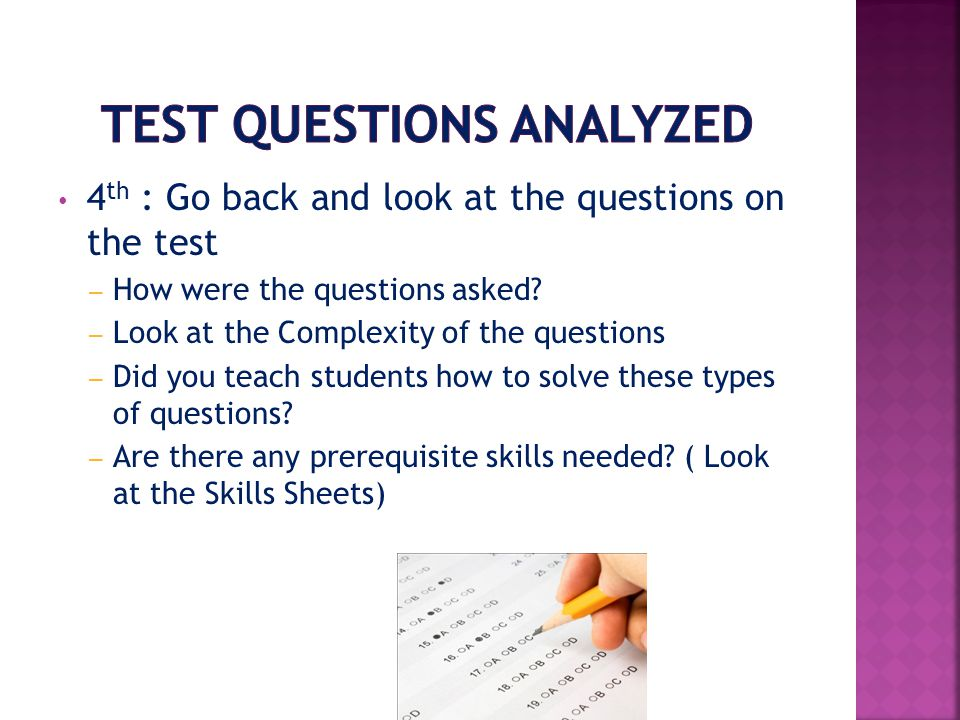 Test Questions Analyzed