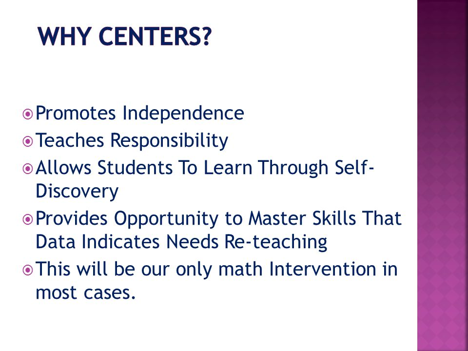 Why Centers Promotes Independence Teaches Responsibility