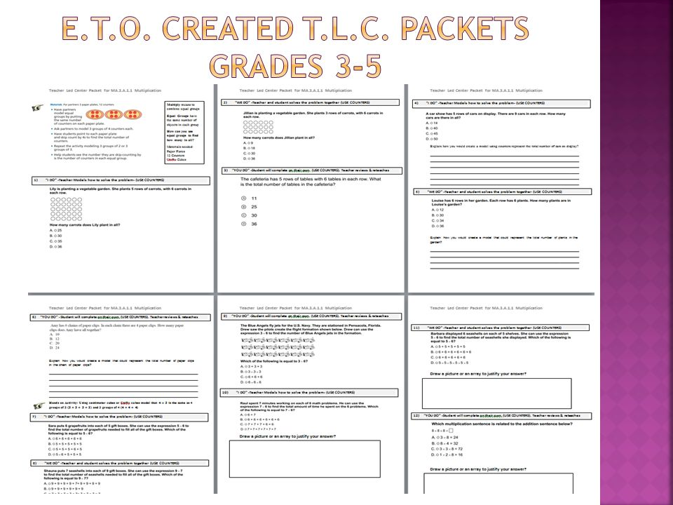 E.t.o. created T.l.C. Packets Grades 3-5