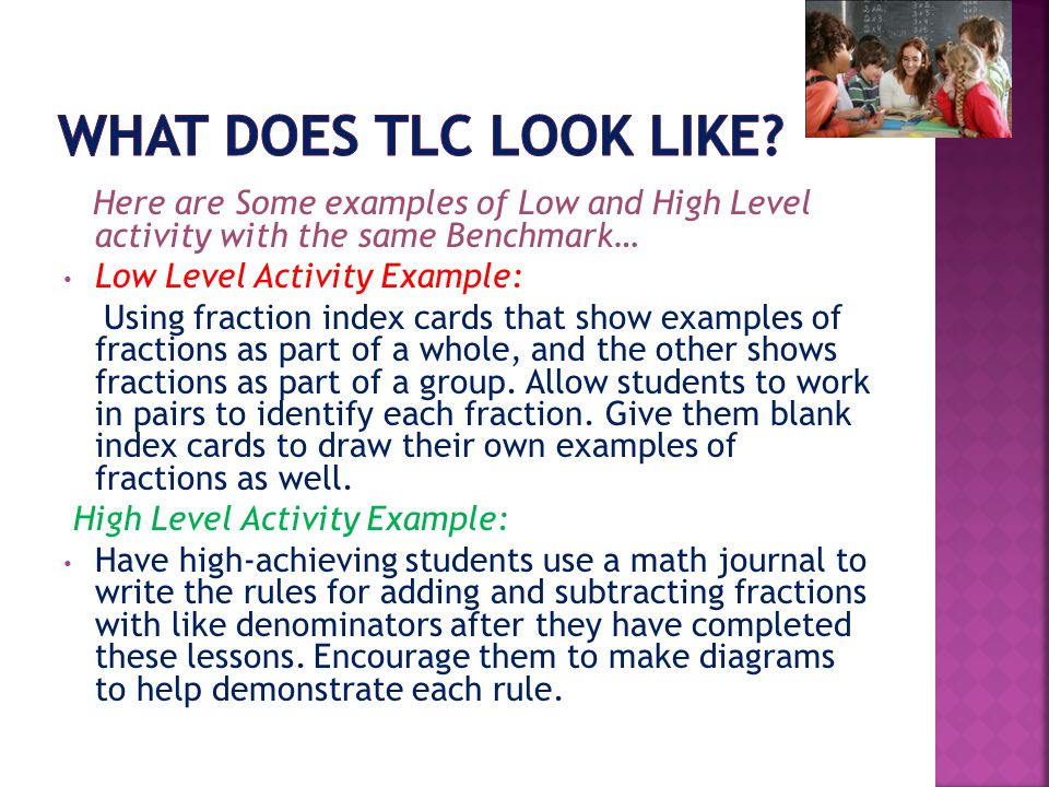 What does TLC look like Here are Some examples of Low and High Level activity with the same Benchmark…