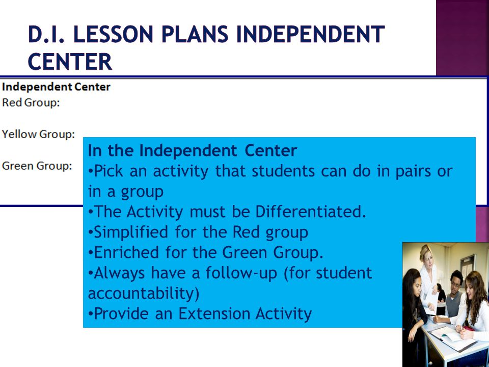 D.I. Lesson Plans Independent Center