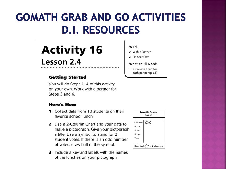 GoMath Grab and Go Activities D.I. Resources