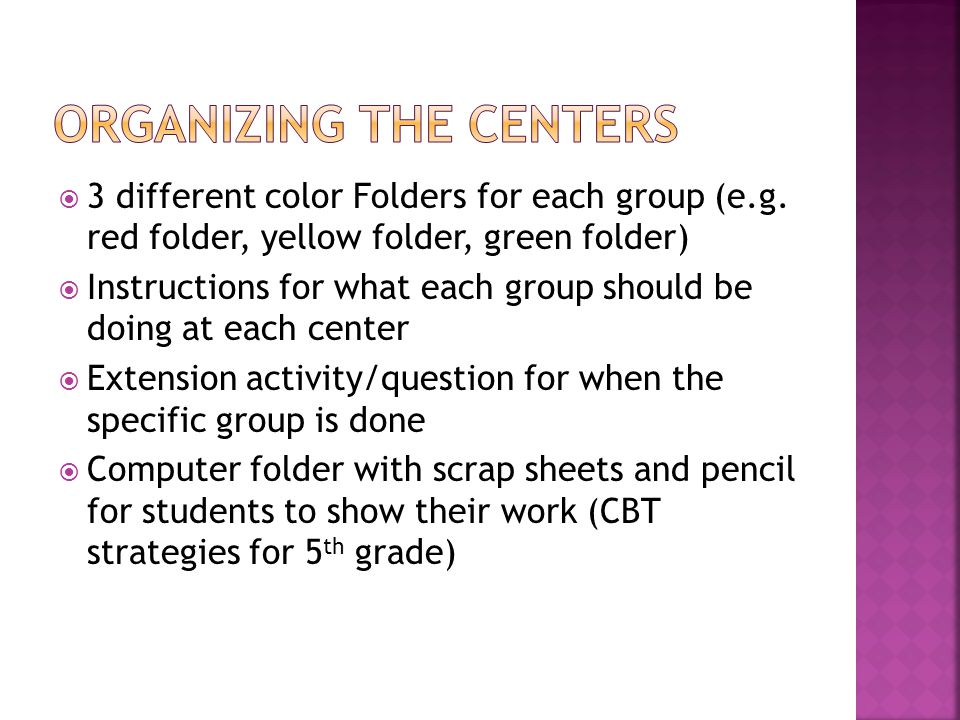 Organizing the Centers
