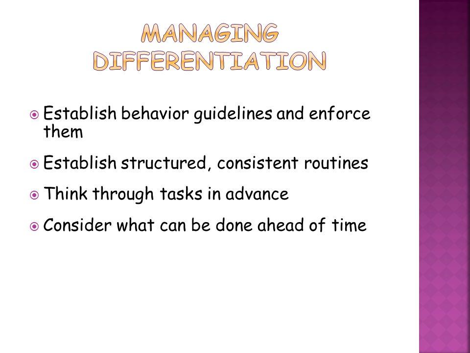 Managing Differentiation