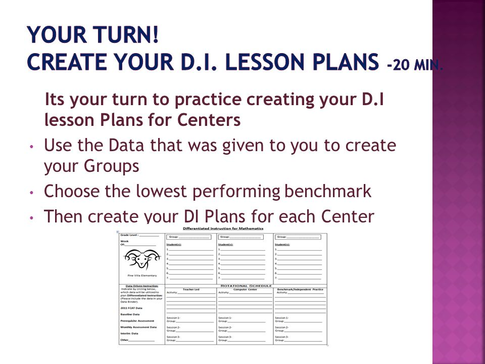 YOUR TURN! Create Your D.I. Lesson Plans -20 min.
