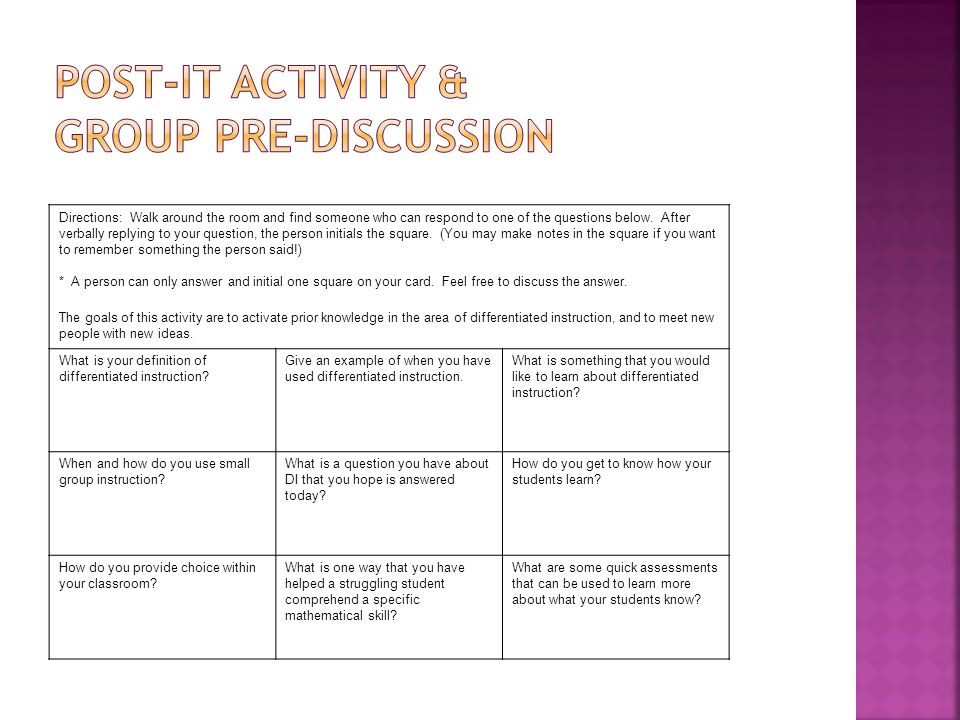 Post-it Activity & Group Pre-Discussion