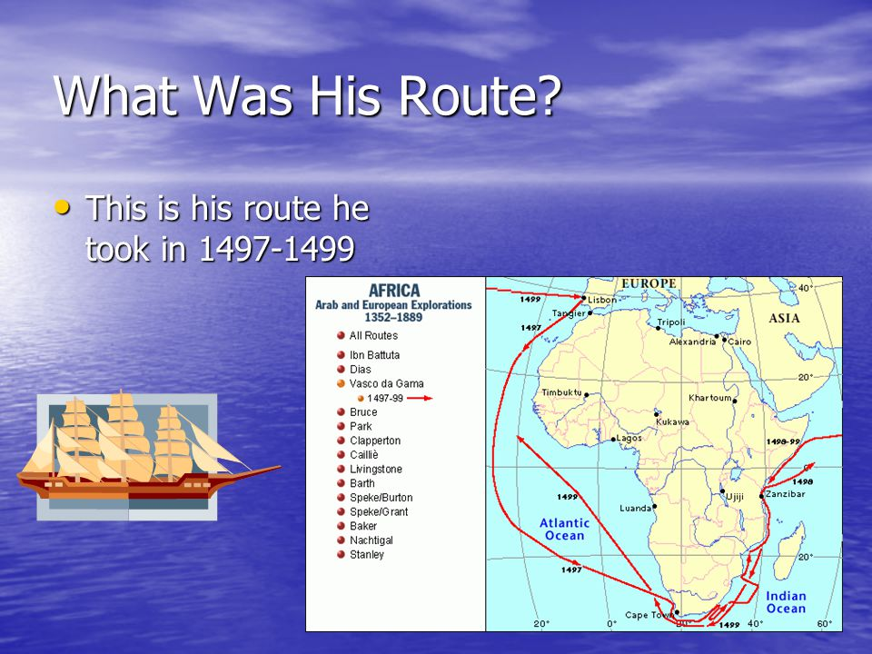 What Was His Route This is his route he took in 1497-1499